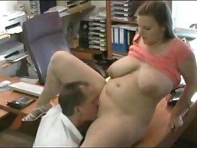 Chubby secretary sucks dick in the office